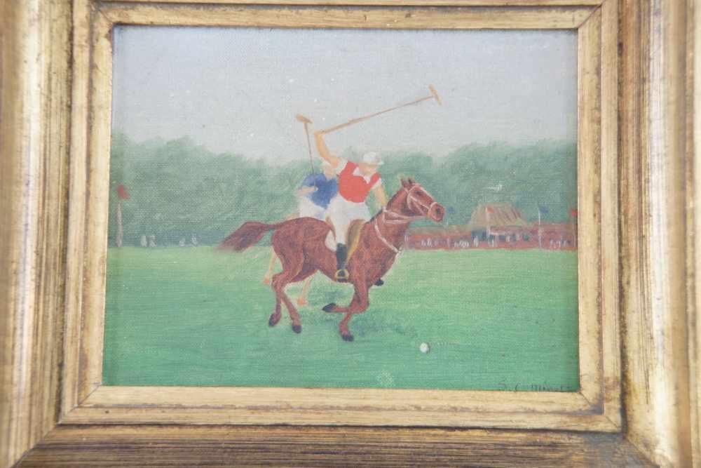 Lot 206 - Jockey zu Pferd, Öl auf Leinwand, signiert, S. C. Minet, gerahmt, 29x34,5cm- - -24.00 % buyer's