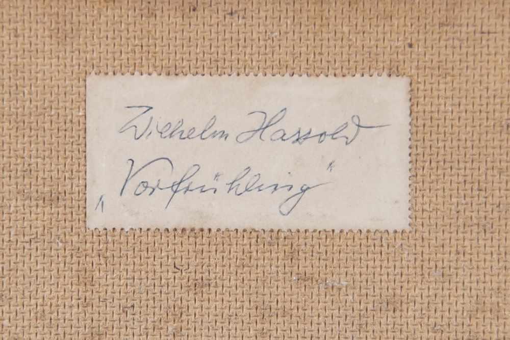 Lot 217 - Vorfrühling, Birken am Bach, Öl auf Malkarton, gerahmt, signiert, W. Hassold, versobezeichnet,