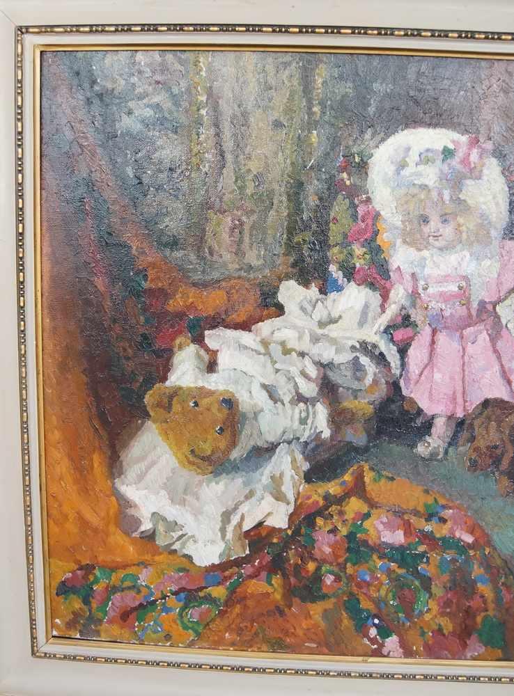 Lot 195 - Liebliches Gemälde in Öl auf Leinwand, gerahmt, Kind mit Teddybär und Hund, 103x111cm- - -24.00 %