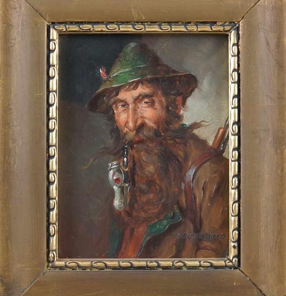 Lot 215 - Jäger mit Hut und Pfeiffe, Öl auf Holz, gerahmt, signiert, W. Schmiedgen, 30x26cm- - -24.00 %