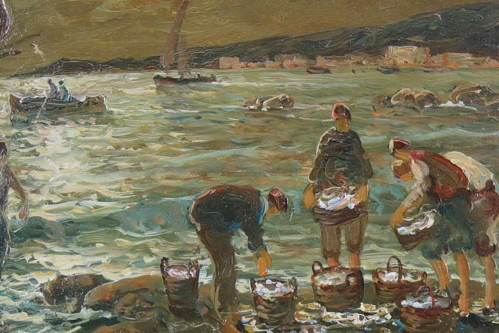 Lot 236 - Fischer im neapolitanischen Hafen bei Nacht, Öl auf Sperrholz, gerahmt, signiert, A.Vanini, 50x59cm-