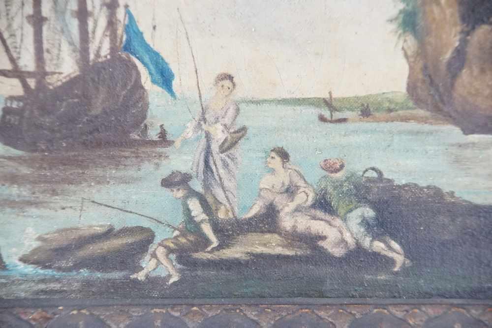 Lot 196 - Neapolitanische Hafenstadt mit Segelboot, Öl auf Leinwand, geschnitzter Prunkrahmen, 19.JH,