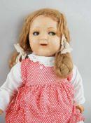 Puppe, wohl K&R, Massekopf, rot gepunktetes Kleid, um 1930, bespielt, 54 cm- - -24.00 % buyer's