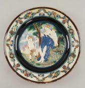 Grosser Schauteller / Reliefschale nach Bernard Palissy, Altersspuren, 19. JH, Scherbenbunt