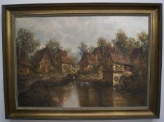 Dorfszenerie mit BachlaufÖl/Leinwand, unten links mit Naumeyer signiert, Rahmen, Maße mit Rahmen