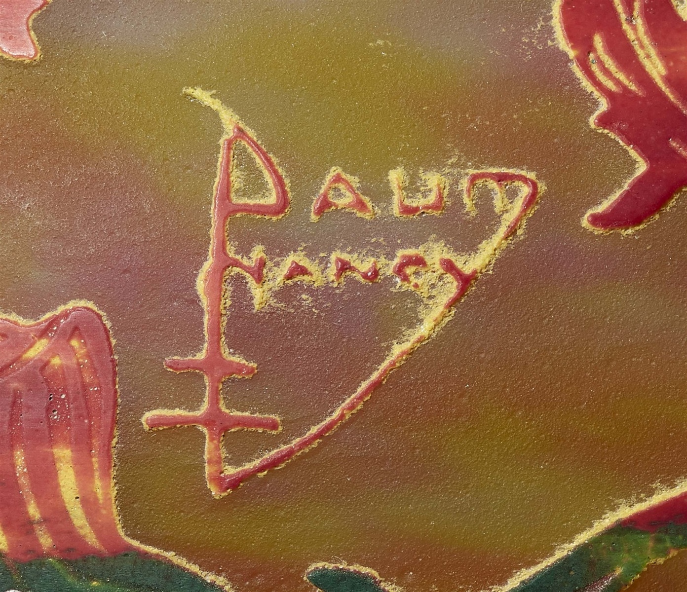Lot 22 - Lampe tulipe perroquetsMatt geätztes Glas mit Pulvereinschmelzungen in Gelb und Rot, grüner