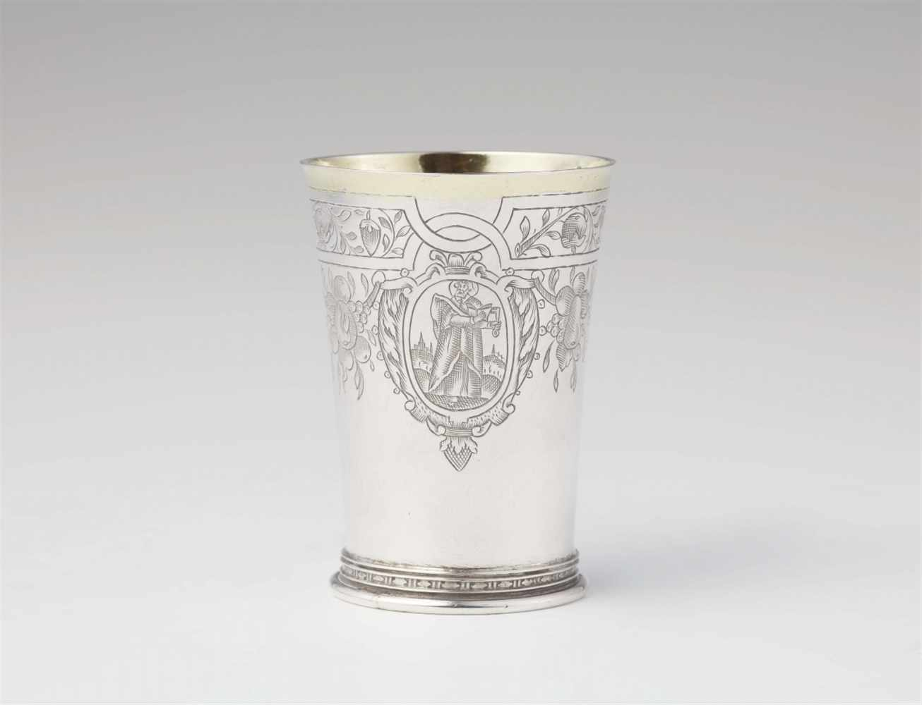 Lot 358 - A Cologne parcel gilt silver Apostle beakerCylindrical tapering beaker on a moulded basal ring.