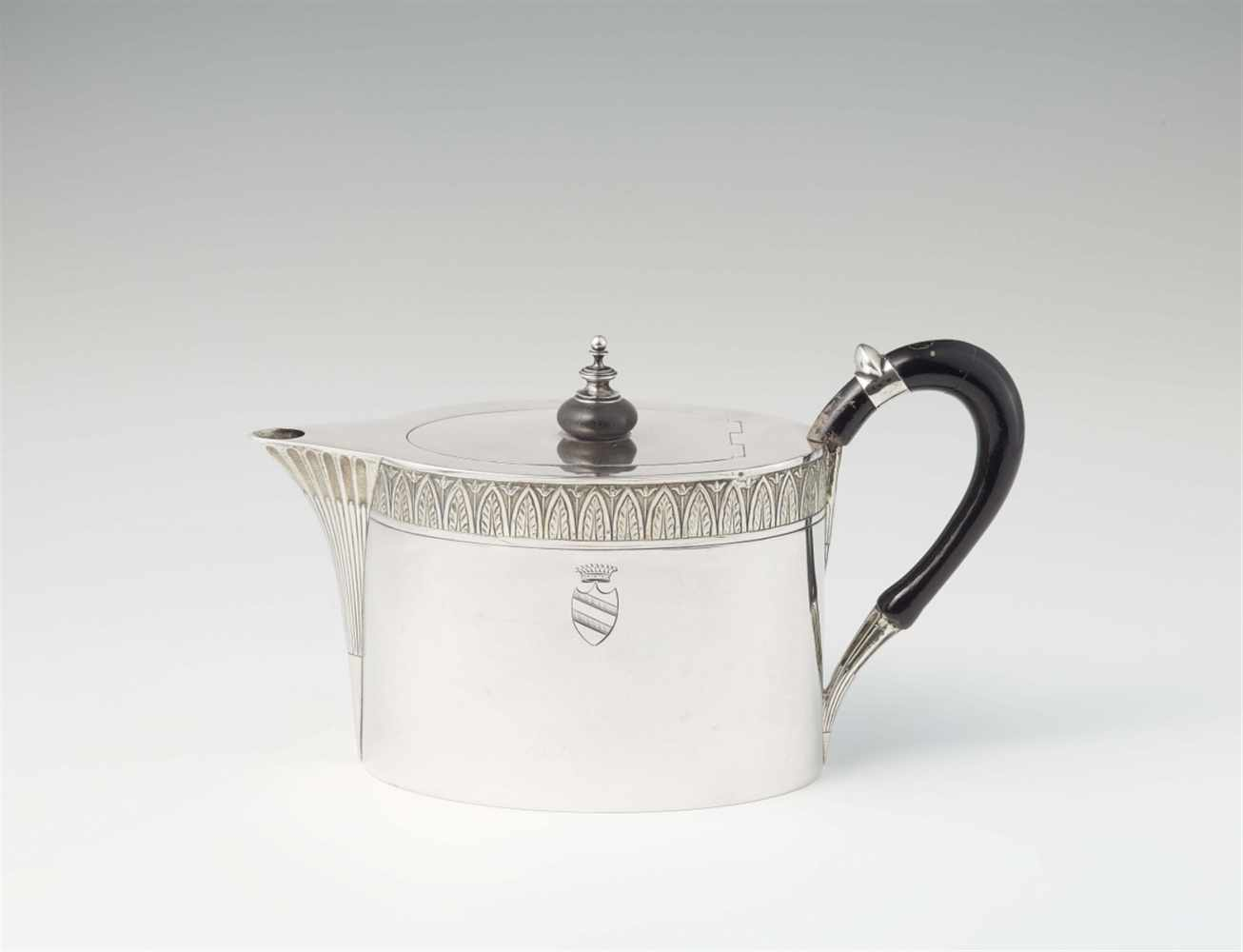 Lot 349 - A Dresden silver teapotOval interior gilt vessel with sunken hinged lid. Engraved to the display