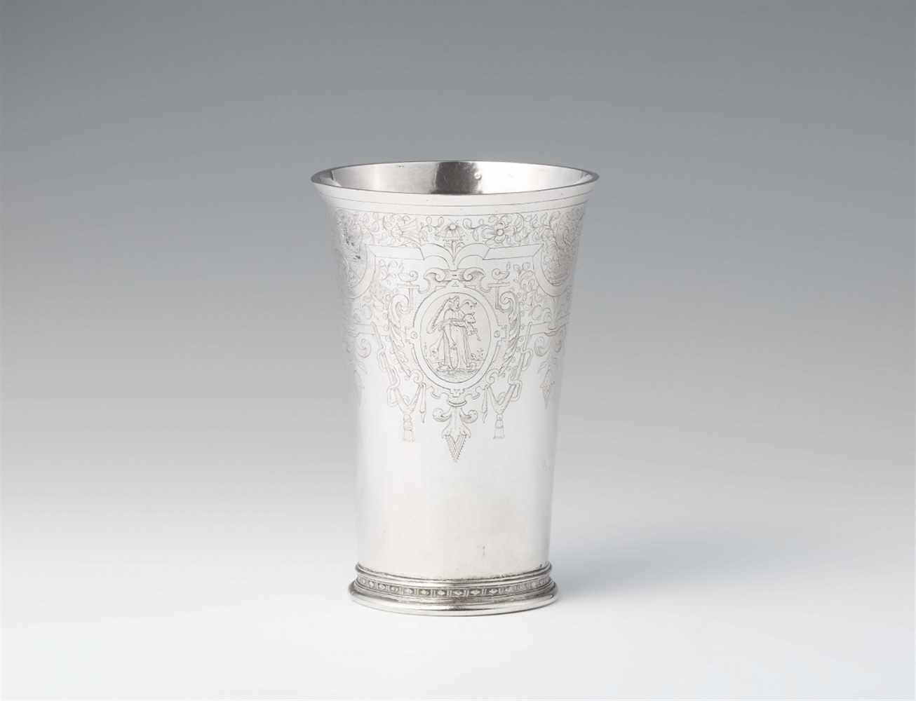 Lot 300 - A large Cologne Renaissance silver beakerConical beaker with flaring rim on a moulded basal ring.