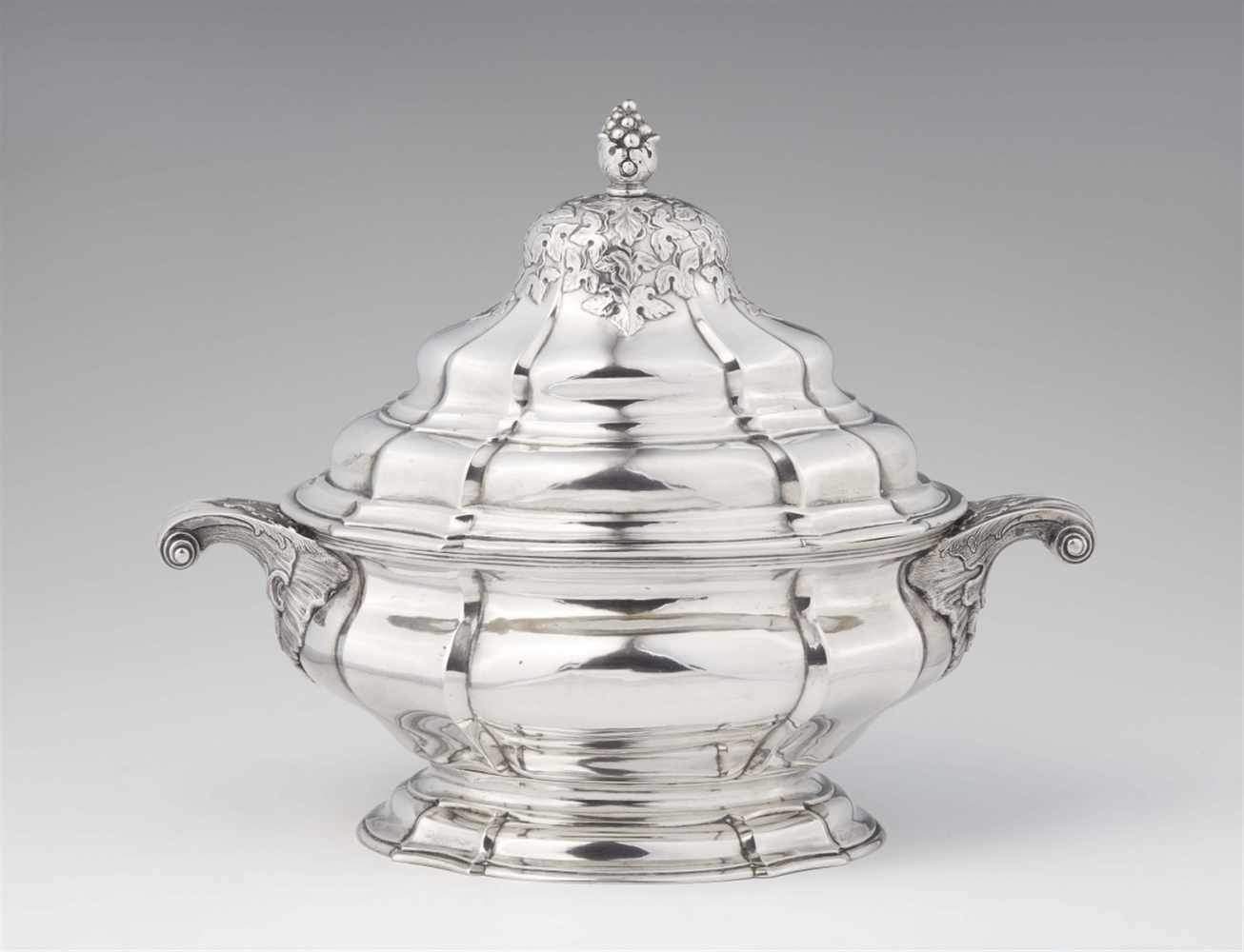 Lot 313 - An important Reval silver tureen and coverA bombé form interior gilt oval tureen with handles to