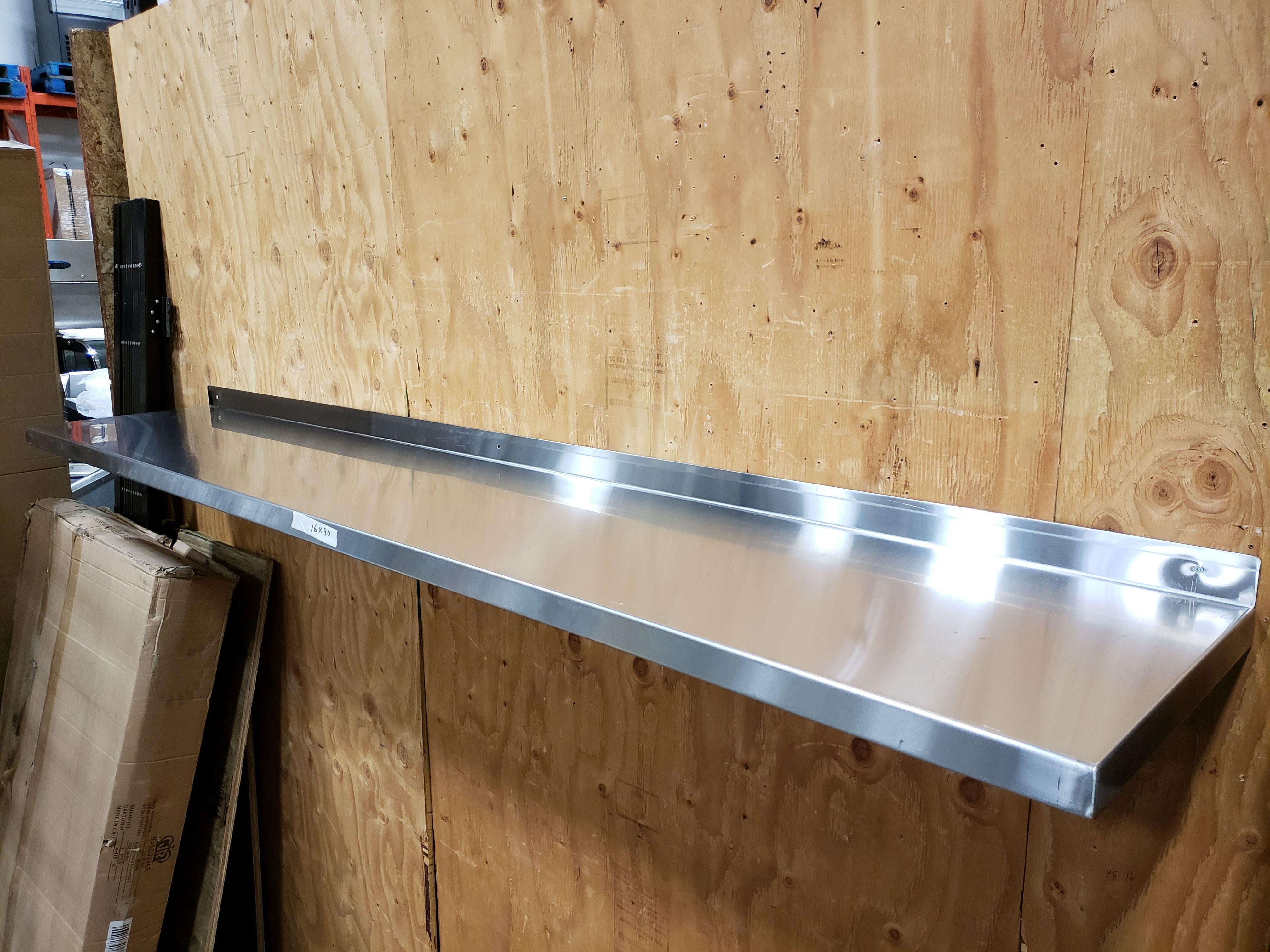 "Lot 28 - 16"" x 90"" Stainless Steel Wall Shelf"