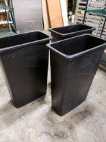 "Lot 1 - Black 10"" x 20"" Rubbermaid Waste / Recycle Bins - Lot of 3"