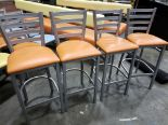Lot 58 - Metal Frame Stools with Padded Seats - Lot of 4