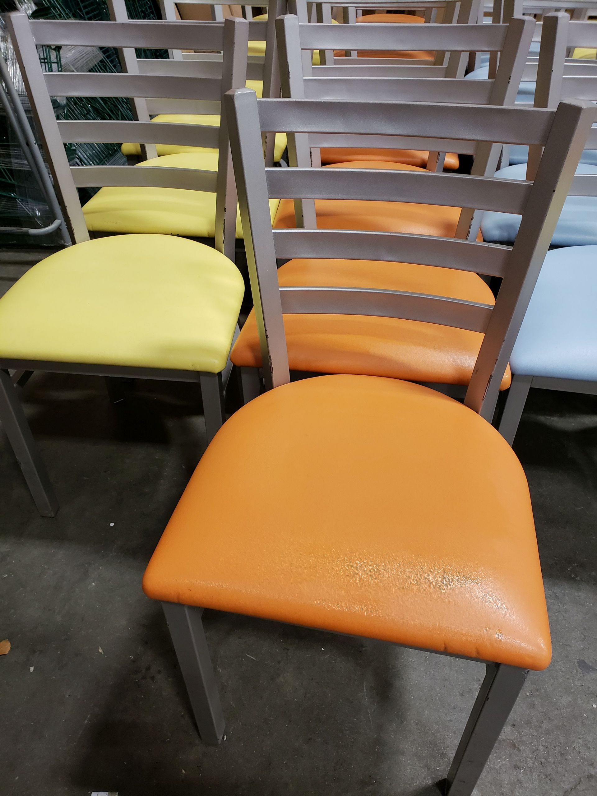 Lot 57 - Metal Frame Chairs with Padded Seats - Lot of 37