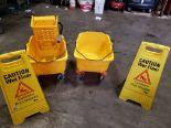 Lot 19 - 2 Mop Buckets, 2 Wet Floor Signs & 1 Wringer