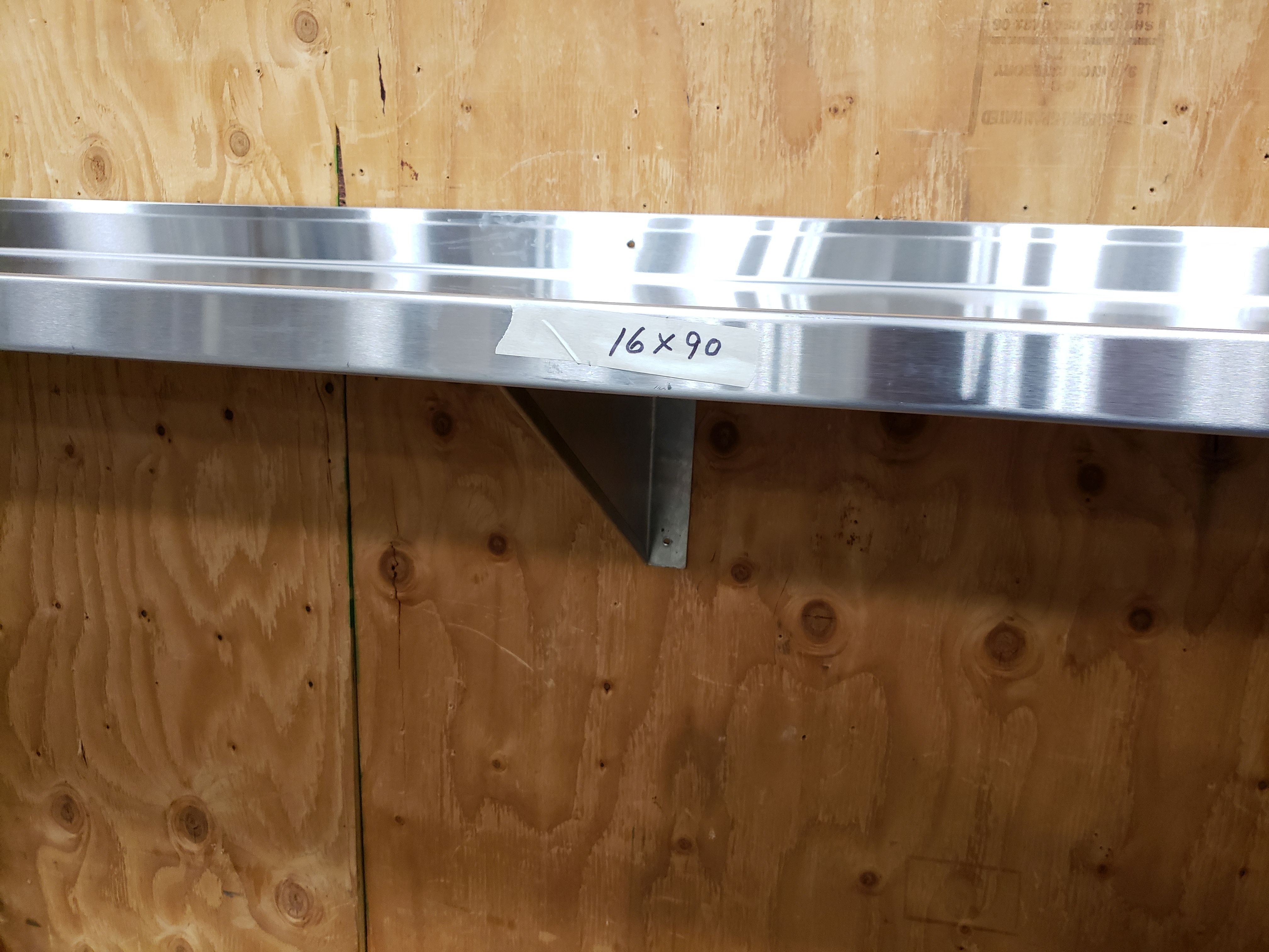 "Lot 29 - 16"" x 90"" Stainless Steel Wall Shelf"