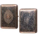 Lot 3594 - Silver gilt and niello cigarette case