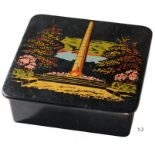 Lot 3606 - Square box, darkness and lacquered wood