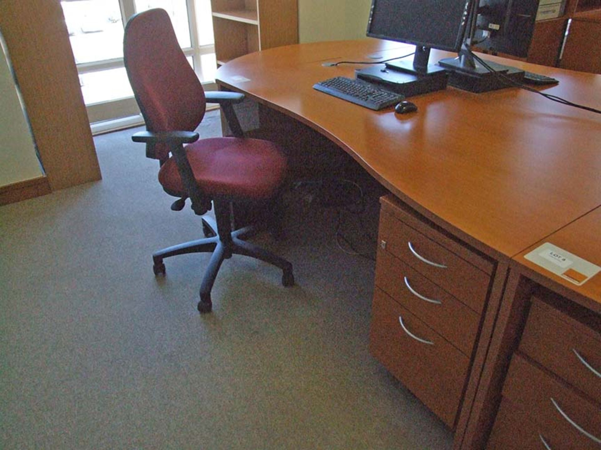 Lot 9 - Desk with 3 drawer pedestal 1800 wide with operators chair
