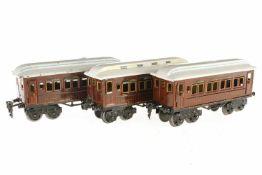 Märklin 3-teiliger Zug, mit 2 Mitropa Speisewagen und 1 Mitropa Schlafwagen 1886, S 0, je 4 AT,