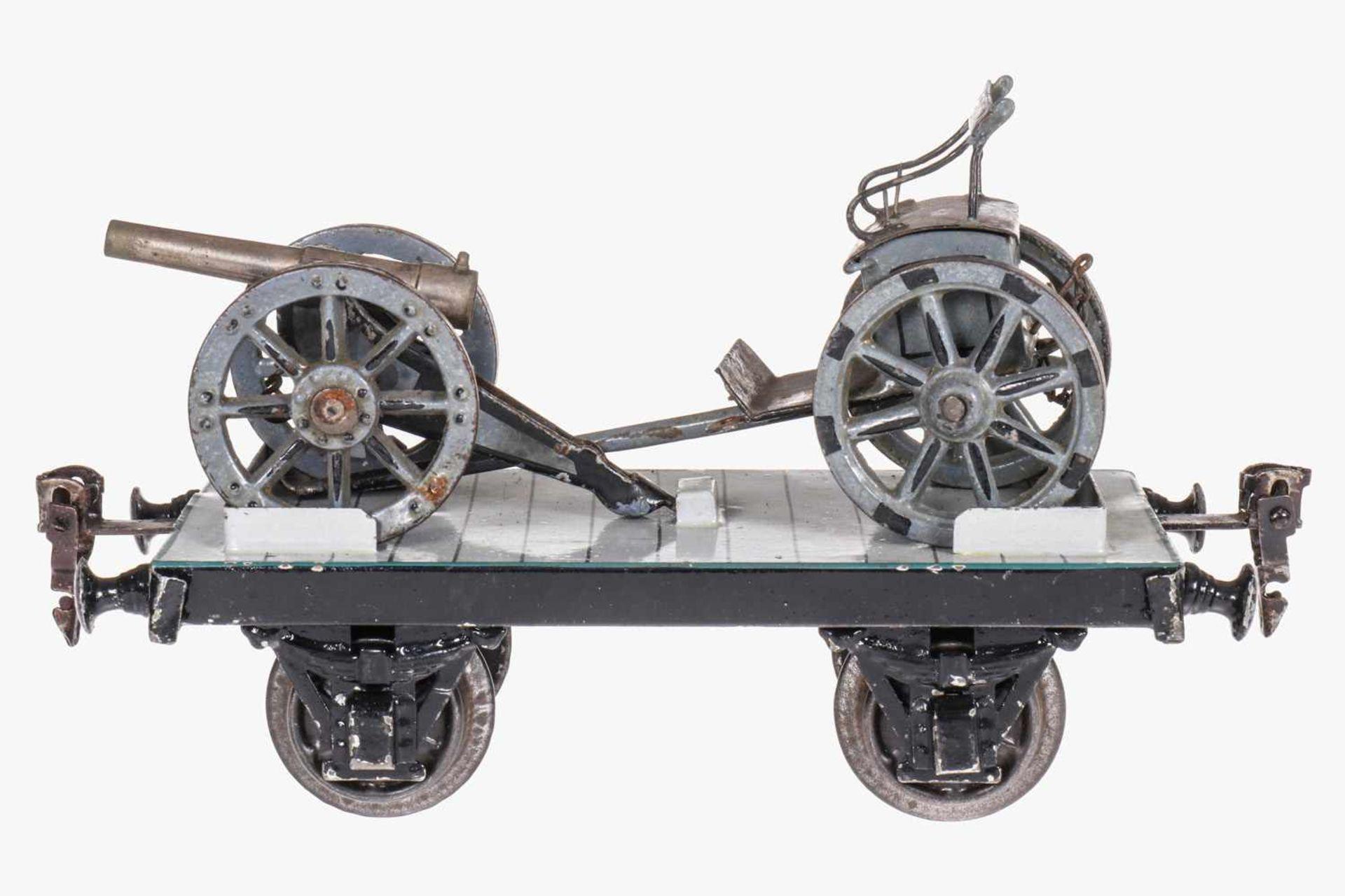Märklin Militär-Plattformwagen 1924, S 1, uralt, HL, mit Protze und Kanone, Verschluss von Kanone