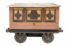"""ER Wagen als Spardose, S 1, uralt, Stirnseiten beschriftet mit """"The Railway Saloon of H. M. King"""