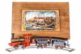 Schoenner Uralt-Zug, S 1, HL, mit 1-A Tenderlok, spiritusbetrieben, mit Pfeife, Brenner und 2
