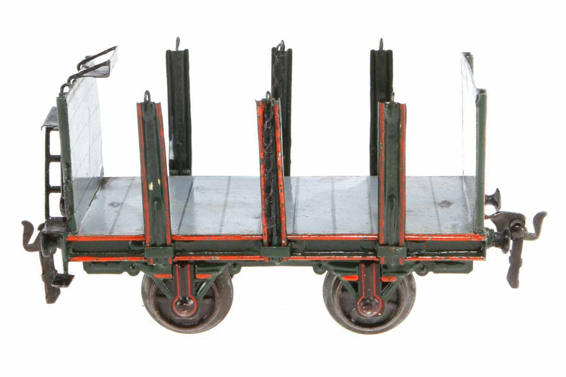 Märklin Rungenwagen 1833, S 1, uralt, HL, Ketten NV, LS und gealterter Lack, L 18, Z 2-3
