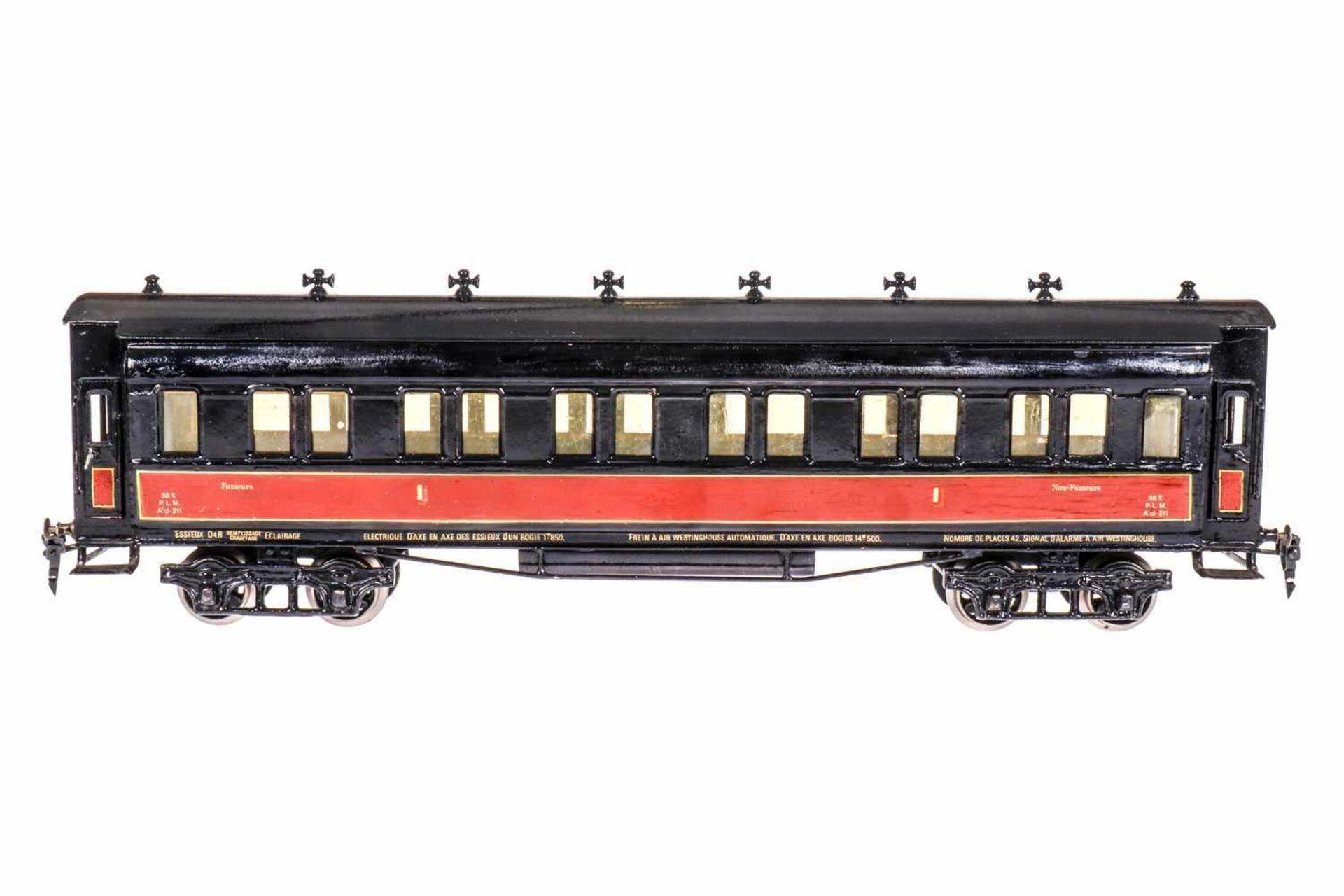 Märklin französischer PLM-Personenwagen 1945, S 1, 2. Klasse, rot/schwarz, farblich rest. L 53