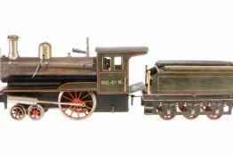 Carette 2-A Dampflok, S 3, Spurweite 67, uralt, spiritusbetrieben, HL, mit Tender, Brenner,