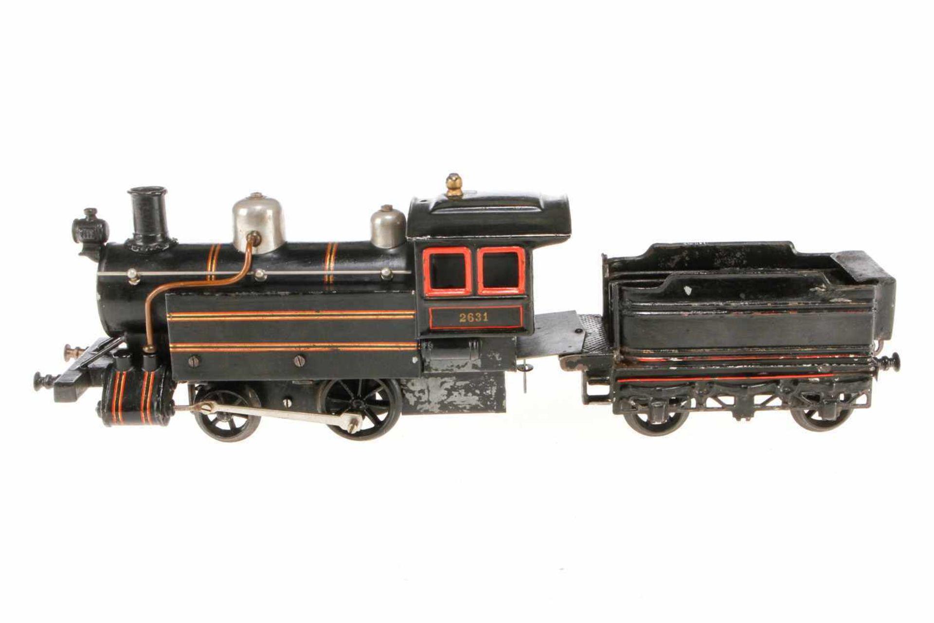 Bing 1-A Dampflok, S 1, Starkstrom, HL, mit Tender und 1 imit. Stirnlampe, 1 Puffer ersetzt und