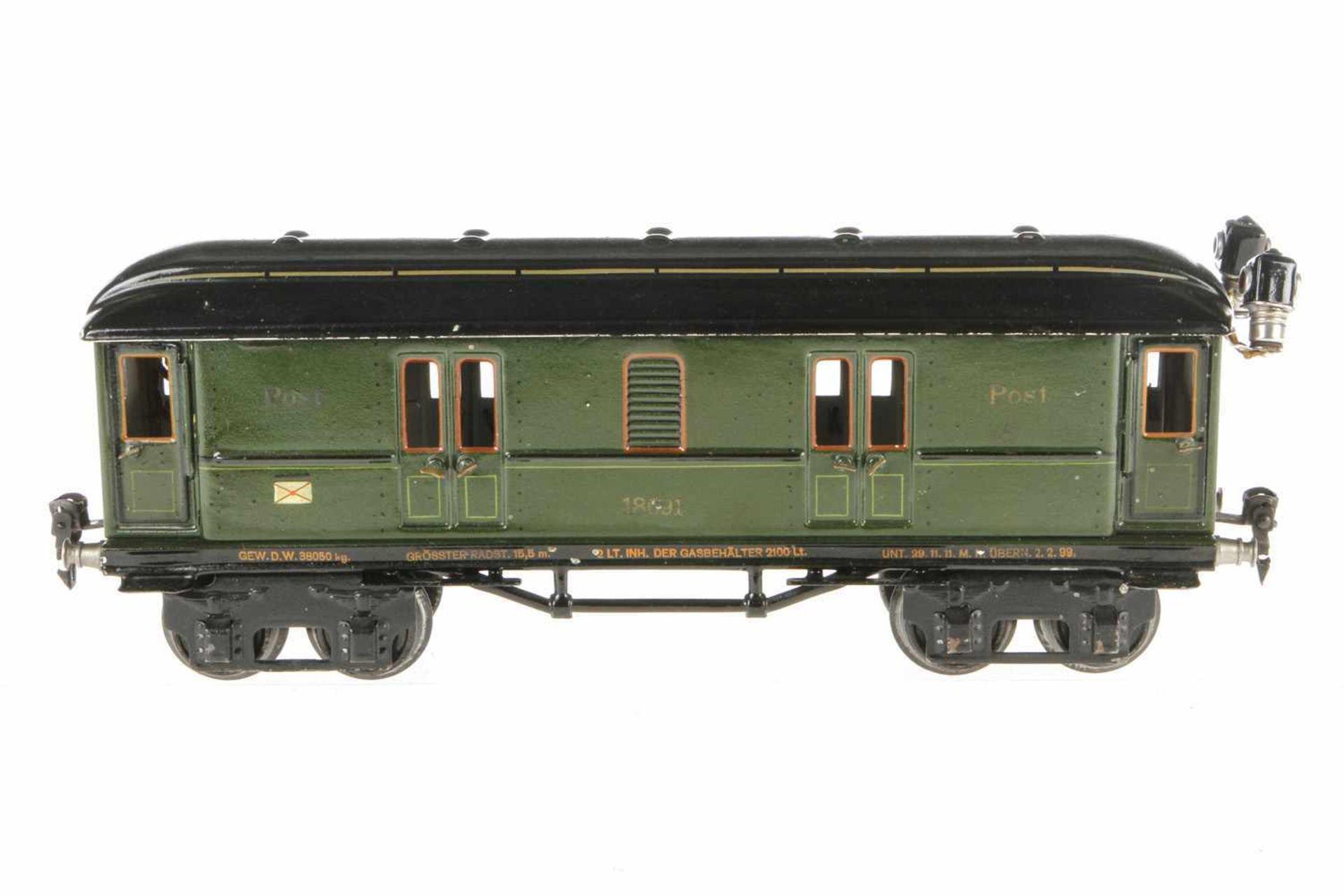 Märklin Postwagen 1869, S 1, HL, mit 4 AT, Innen- und Schlussbeleuchtung, LS und gealterter Lack,