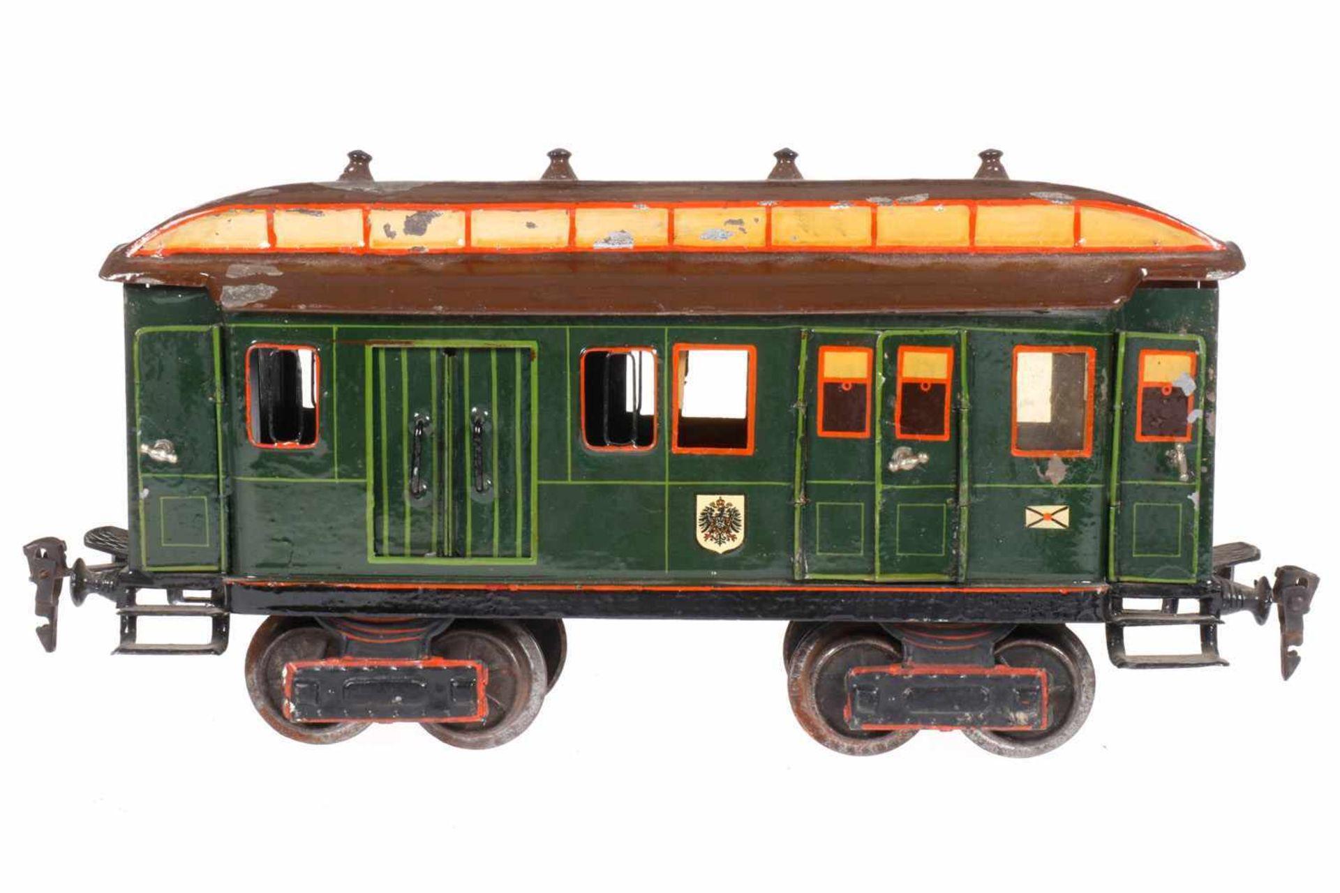 Märklin Post-/Gepäckwagen 1844, S 1, uralt, HL, mit Inneneinrichtung, 4 ST, 2 DT und 4 AT, 1