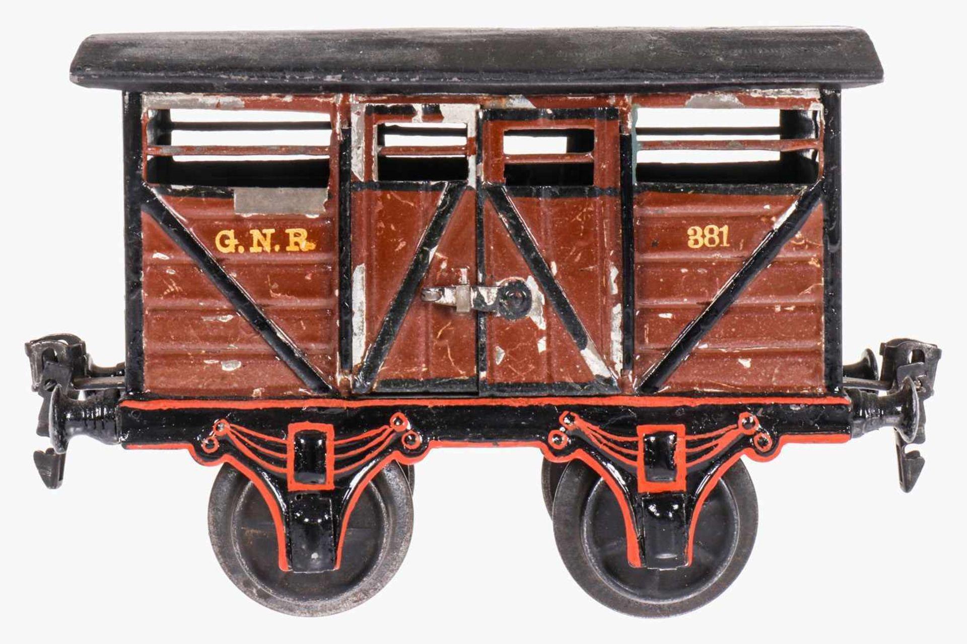 Märklin engl. Viehwagen 2866 GNR, S 1, uralt, HL, mit 2 DTH, Dach und Rahmenbereich nachlackiert, LS