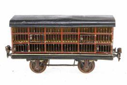 Märklin Kleintierwagen 1911, S 1, uralt, HL, 4 ST, 1 Seitenwand durchbrochen mit 4 kleinen
