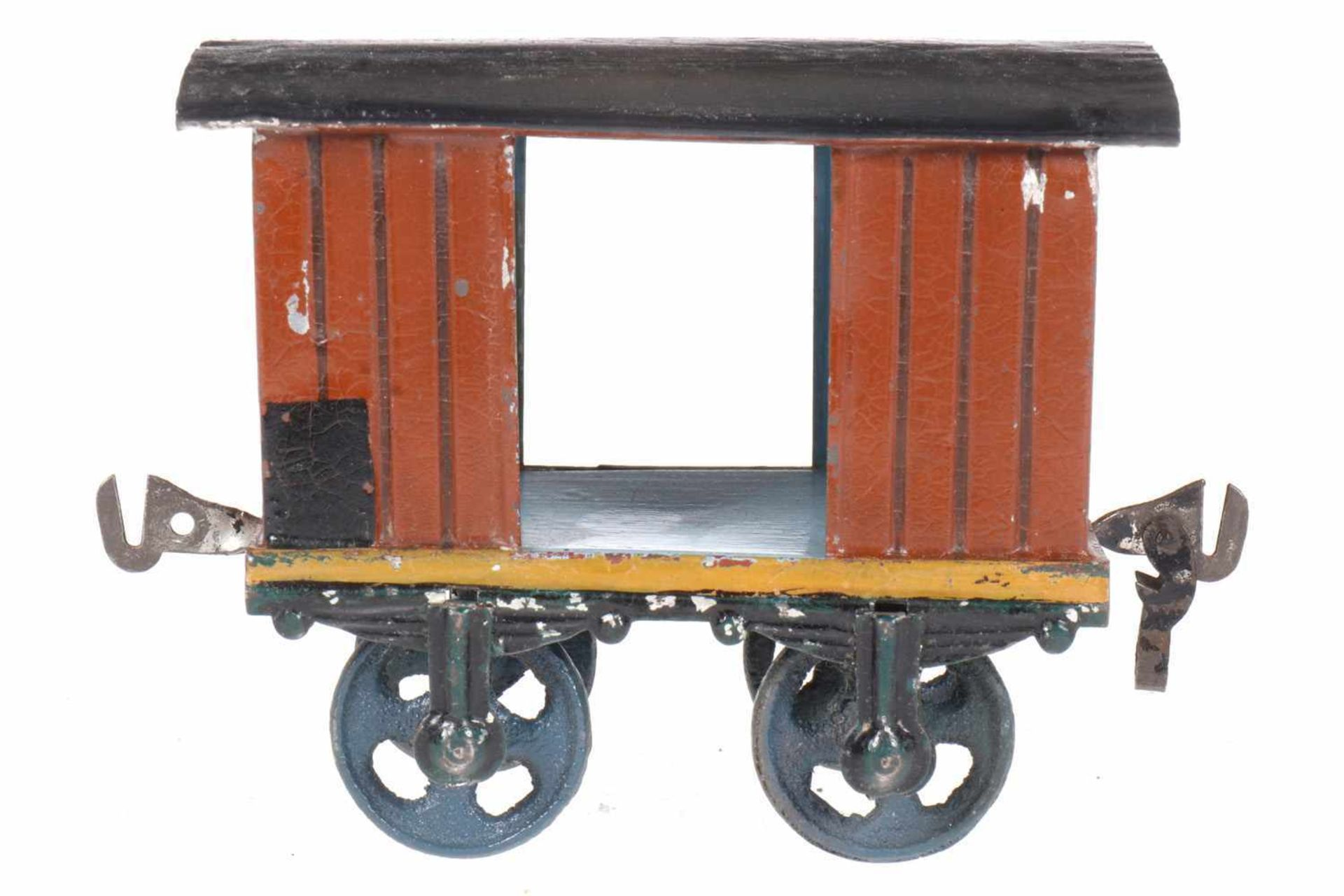 Märklin gedeckter Güterwagen 1802, S 1, uralt, HL, mit 2 TÖ und Bügelkupplung, 1 Bügel fehlt,