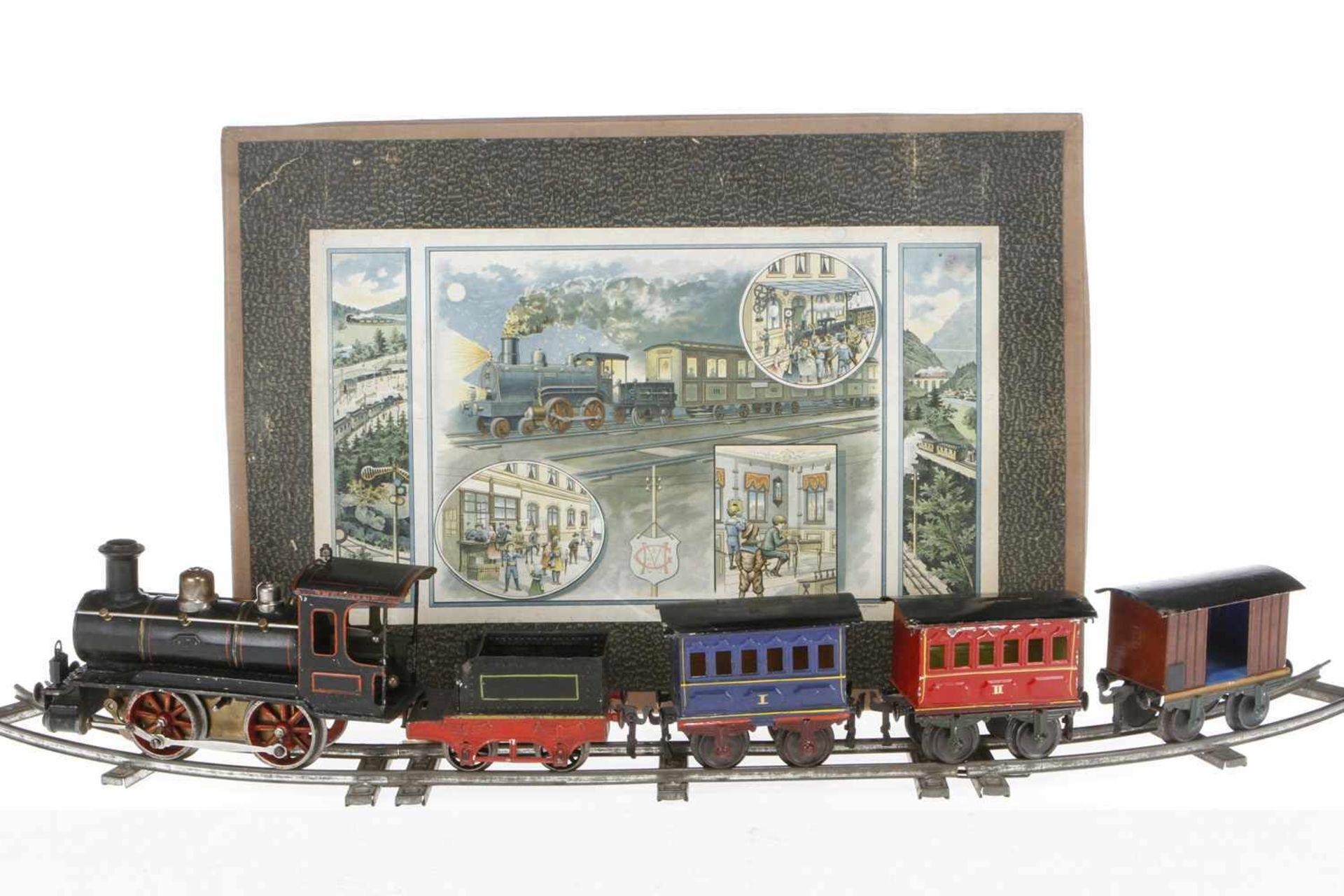 Märklin Zugpackung, S 1, uralt, Uhrwerk intakt, HL, mit B-Dampflok 1021, Tender, 2 imit. Stirnlampen