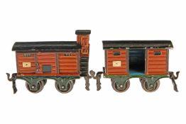 2 Märklin Güterwagen, S 0, 1804 mit BRHh und 1 ST, L 11 und 1803 mit 1 TÖ und waagerechten Rillen, L