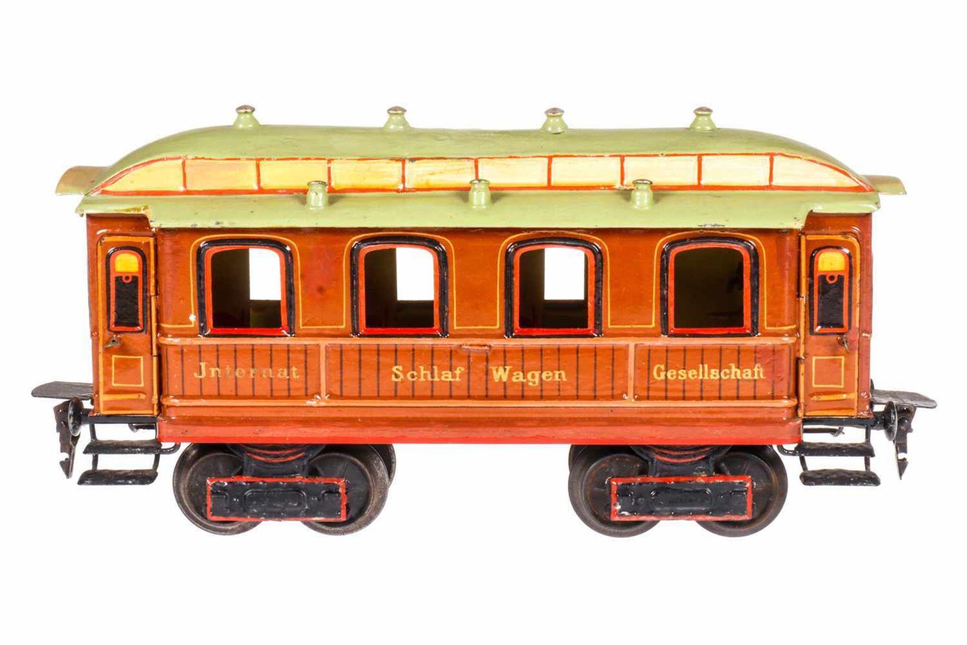 Märklin internationaler Schlafwagen 1843, S 1, uralt, Teak HL, mit Inneneinrichtung, 4 AT, 10