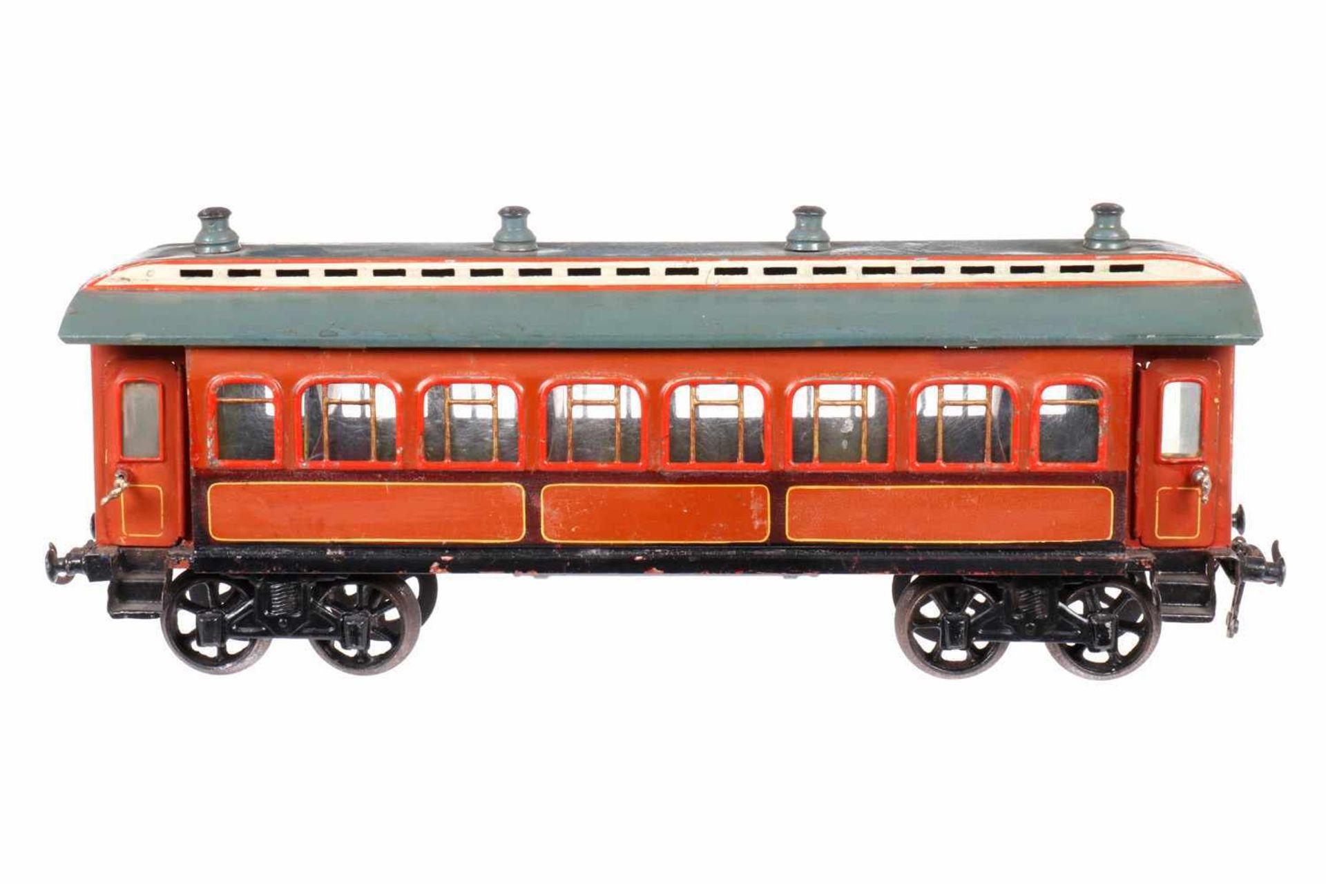 Bing Personenwagen, S 2, uralt, HL, mit Inneneinrichtung, Vorhang fehlt, 6 AT, 4A Gussräder, Dach