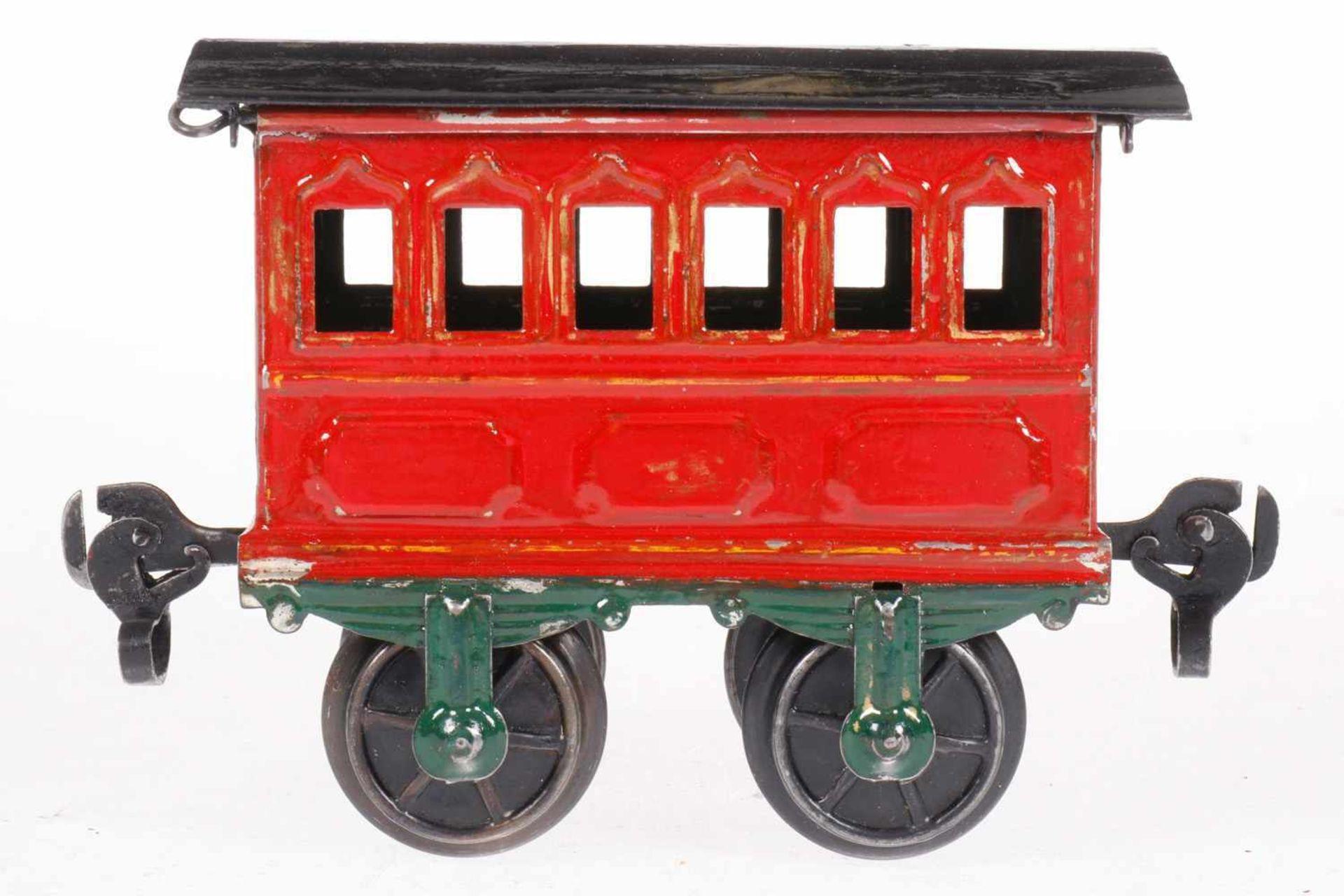Märklin Personenwagen 1805, S 1, uralt, HL, mit Bügelkupplungen, LS, L 10,5, Klarlack