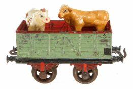 Bing Hochbordwagen 8403, S 2, uralt, HL, mit Speichenrädern und 2 Kühen, 1 Kupplung lose, LS, L 16,