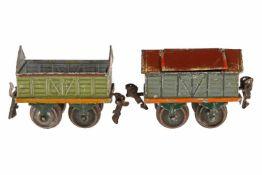 2 Märklin Güterwagen 1815 und 1820, ohne Kohleblech, S 0, HL, L 8,5, leichte Alterungs- und