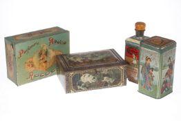 """4 Werbedosen, Blech, lithographiert, um 1900, """"Parfümerie Apollo Rococo"""", """"Cerine Parkettpolitur"""" ("""