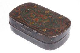 Tabakdose, Weißblech mit farbigem Abziehbild, 19. Jh., Länge 10 cm, Gebrauchsspuren