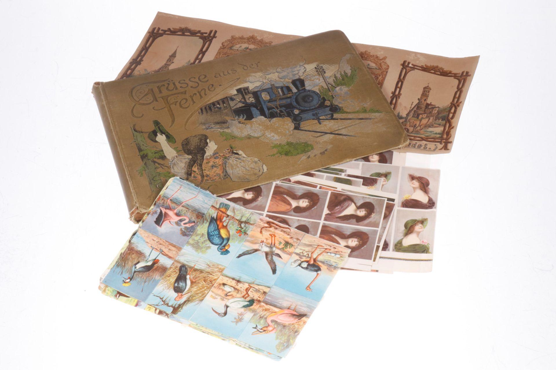 Postkartenalbum, ohne Postkarten, dazu verschiedene Bildkärtchen, Tiere, Autos, Portraits, um 1900