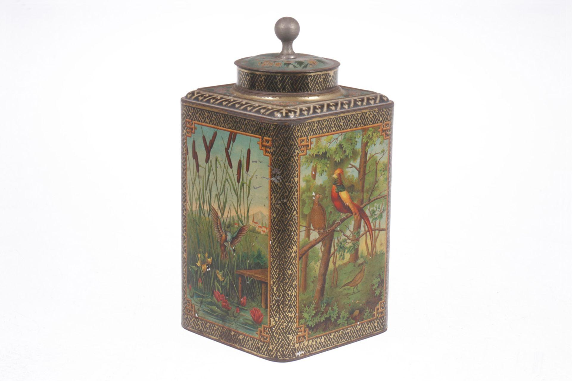 Blech-Teedose, mit Deckel, um 1900, Vogelmotiv, lithographiert, Höhe 31 cm, Z 2