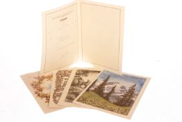 5 Telegramme, dreißiger Jahre, schön illustriert, H 30 cm, 2 etwas fleckig, sonst leichte Alterungs-