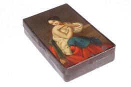 Tabakdose, Weißblech mit Öl-Lackmalerei, um 1820, Länge 12 cm, Gebrauchsspuren, selten