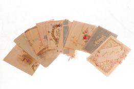 Konv.10 Glückwunschkarten, meist um 1900, tw polychromer Prägedruck und Stanzspitze, leichte